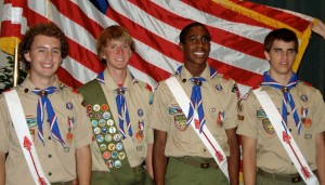 Eagle Scouts Zach Hofmann, Schafer Gray, David Thomas, Matt Simpson