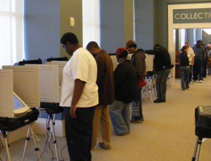 Voting at Columbus Public Library