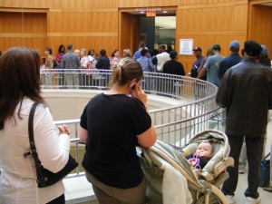 Voting line at Columbus Public Library