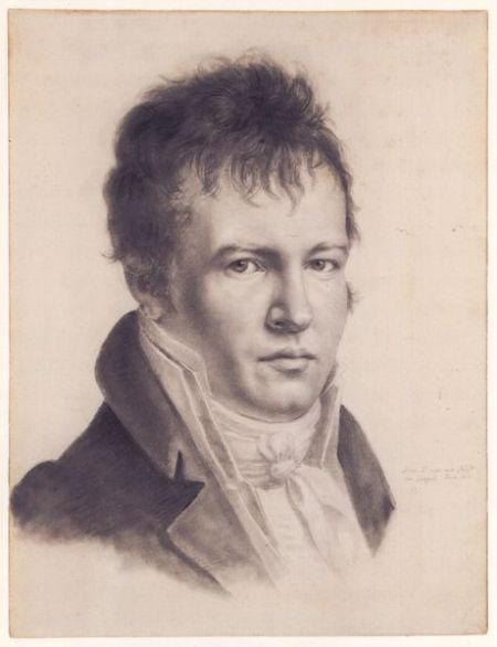 Baron Alexander von Humboldt, self-portait, 1814  Since the camera hadn't been invented, it was handy for an explorer to be able to sketch. He could.