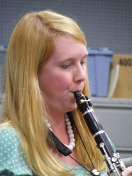 Gina Moody, Bob Barr Community Band Clarinet Soloist,  teacher of orchestra at Jordan High and Arnold Middle School