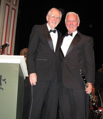 Dick McMichael, Jimmy Motos,  announcers for the Bob Barr Community Band (Photo: courtesy Barbara Motos)