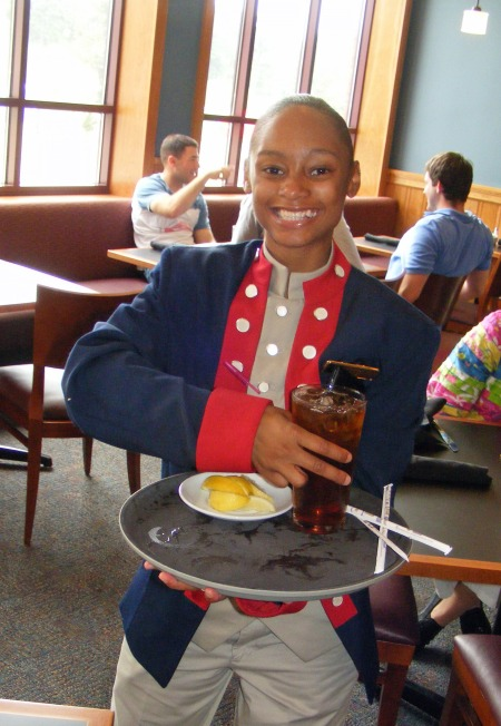 Servers wear Revolutionary War style uniforms at the Fife and Drum Restaurant, National Infantry Museum, Columbus, Georgia