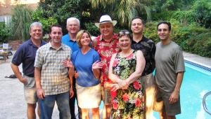(Left to right) Dave Platta, Jason Dennis, Paul Therrien,  Cheryl Morgan Myers, Wayne Bennett, Borden Black,  Kurt Schmitz, Bob Jeswald,  Columbus, GA TV personalities