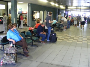 Passengers waiting to board a Atlantic Southeast jet to Atlanta, Columbus Metropolitan Airport, Columbus, GA