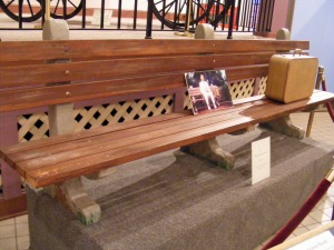 Paramaount pictures donated ths is park bench to the Savannah History Museum.  It was the one on which Tom Hanks sat at a bus stop. telling his story to different people waiting for a bus.  The bench appeard to be made of concrete and wood, like the ones in Savannah's 24 historic squares, but, it's not.  Paramount had one made of fiberglass so that it could easily be moved around.  There is a picture of Hanks from the movie placed on the bench.