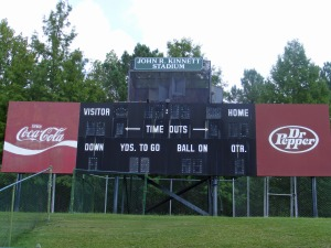 Kinnett Stadium obsolete and broken scoreboard, with stadium sized speakers on top that haven't worked for years