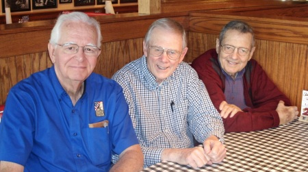 Al Fleming, Dick McMichael, Don Nahley celebrating Dick's birthday at Fudruckers.