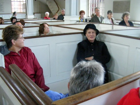 Sitting where Paul Revere sat in Boston's Old North Church in 1775.