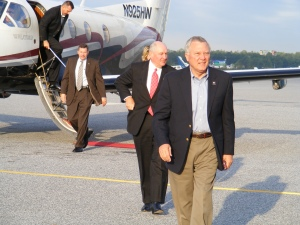Republican gubernatorial candidate Nathan Deal, followed by Republican Governor Sonny Perdue
