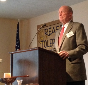 Retired Col. Ralph Puckett speaking to Columbus Unitarian Universalists