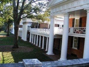 Original dormatory rooms and faculty homes at the University of Virginia, designed by the school's founder Thomas Jefferson.  They are still being used.  Only oustanding students are allowed to occupy the dorm rooms, and some professors still live in the faculty homes.