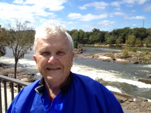 Neal Wickham at the Rotary Club of Columbus outdoor luncheon  by the  Chattahoochee River Whitewater Rapids.