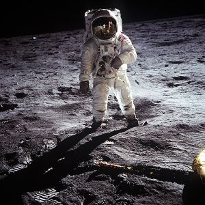AStronaut Buzz Aldrin walking on the Moon.  (NASA Photo)