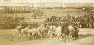 Georgia--Auburn Football Game,, Piedmont Park, Atlanta, 1895. The claissic switched to Columbus, GA in 1920, leaving in 1958 and now alternates between Aubiurn, AL and Athens, GA. They first started playing in 1892 in Atlanta.